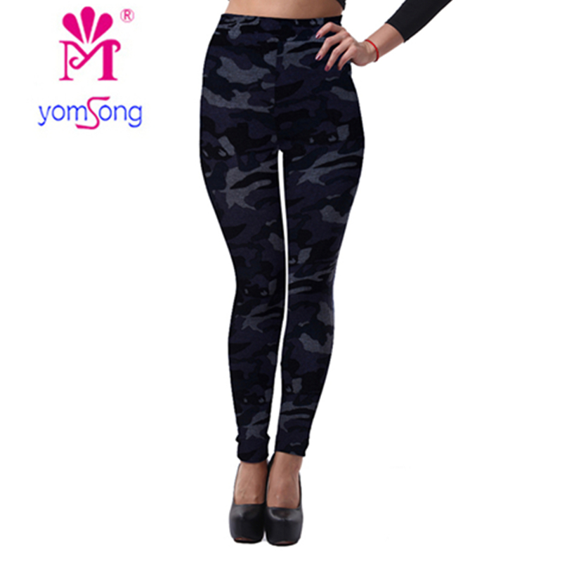 2017 Yomsong Imitation Cowboy Printed Fitness Leggings Autumn and Winter RL301