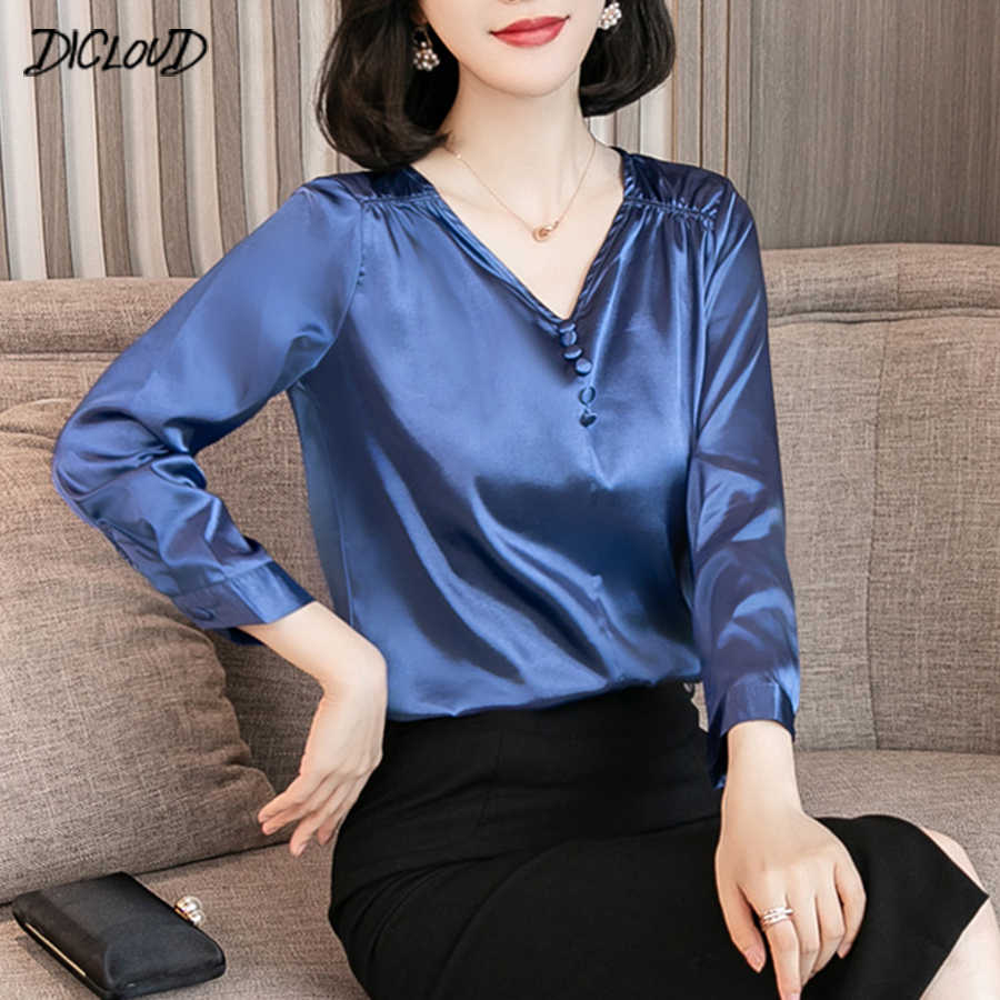 DICLOUD Simple Satin Blouse Female 2019 Fashion Long Sleeve V-Neck Office Lady Shirt Solid Casual Loose Plus Size Tops S-3XL