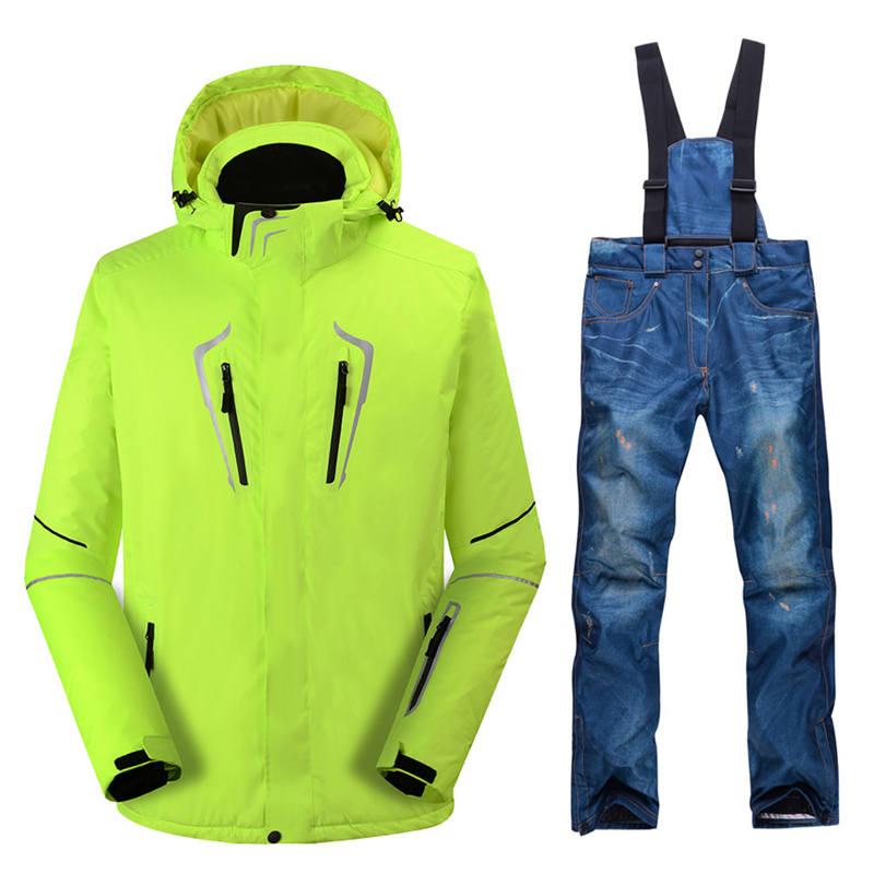 Combinaison de snowboard en plein air veste de ski pour hommes + bavoir pantalon chaud nouvelle couleur sports d'hiver veste de ski de neige respirant imperméable waterproo