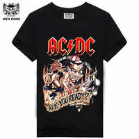[Mężczyźni kości] pkt 9 cartoon rock crime mężczyźni t-shirty AC DC hip hop moda heavy metal AC/DC t shirt