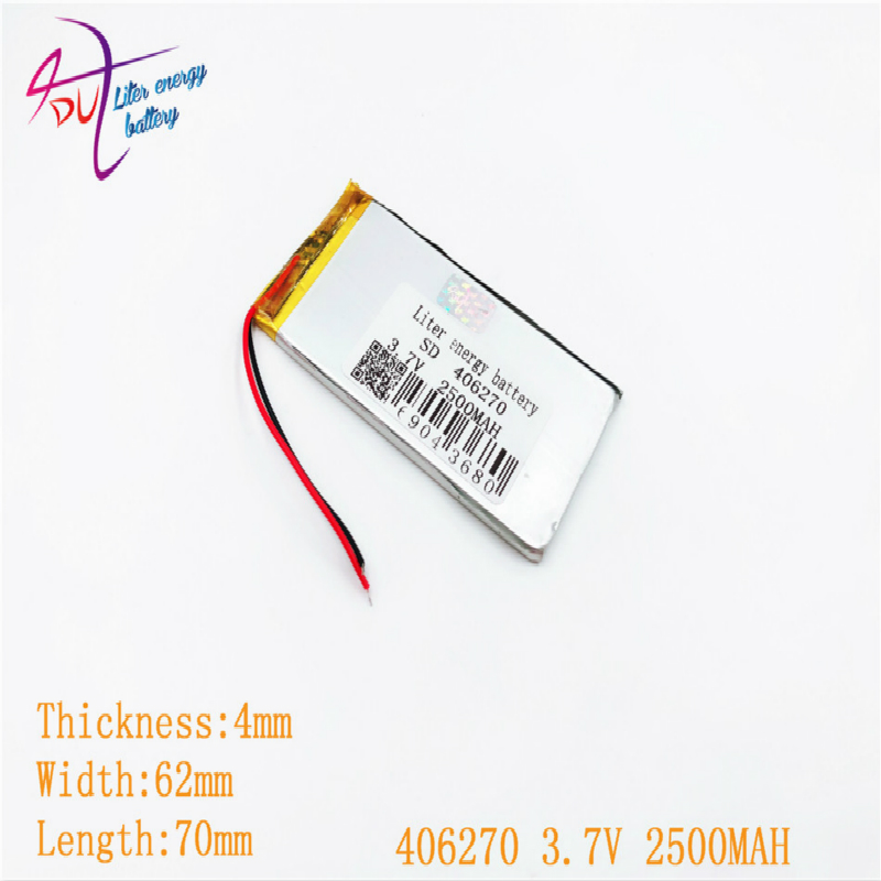 3.7V 2500mAh 406270 <font><b>406070</b></font> Lithium Polymer Li-Po li ion Rechargeable Battery cells For Mp3 MP4 MP5 GPS mobile bluetooth image