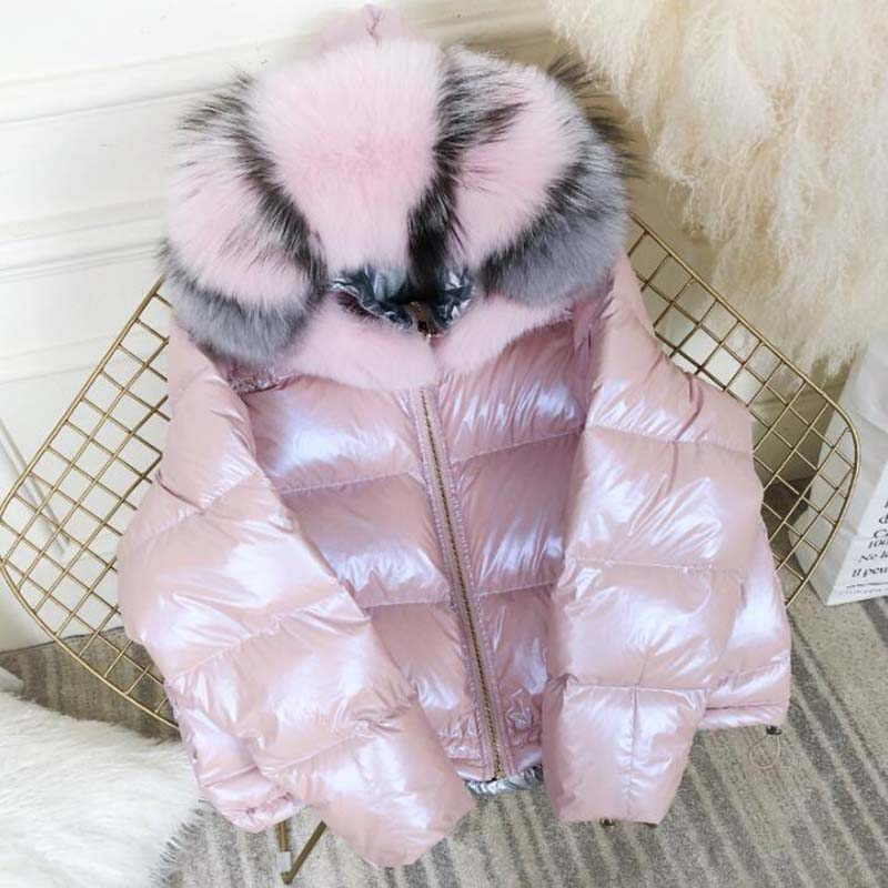 Women Winter   Down   Jacket Fox Fur Big Fur Collar Double-Sided Wearing   Coat   Sequins Silver Short Thick Duck   Down     Coat   Parka