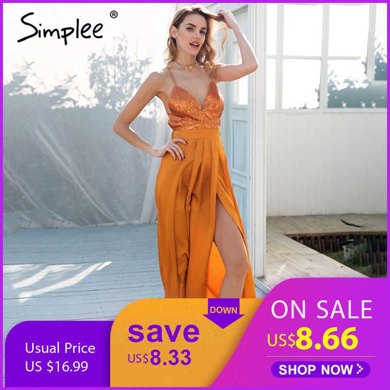 Летнее женское платье Simplee с разрезом, праздничное длинное атласное платье на шнуровке с открытой спиной с блестками и бретелями, элегантное платье макси