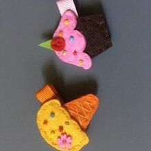 Бутик 10 шт. модные милые для торта милые однотонные заколки войлочные заколки для волос заколки принцессы аксессуары для волос