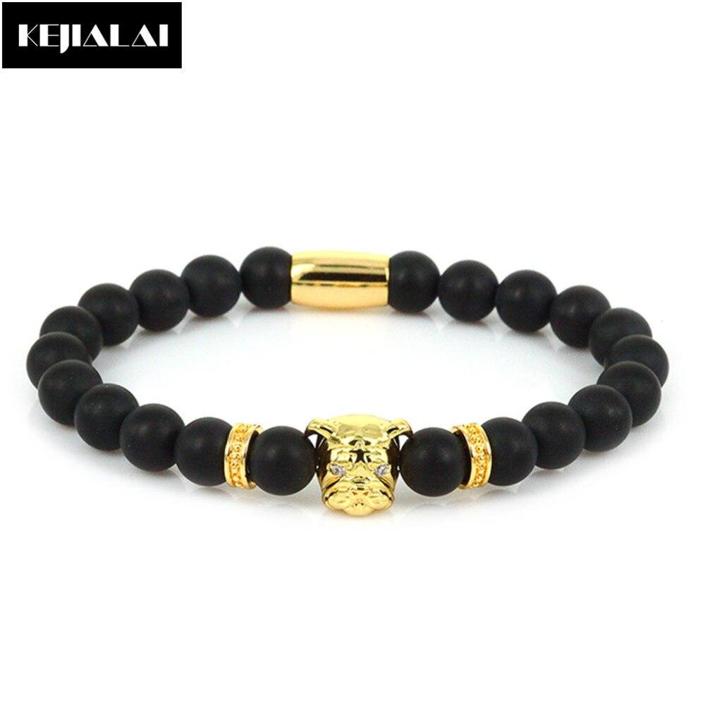 2017 Neue Ankunft Bulldog-charme-anhänger Armband Männer Frauen Schmuck 8mm Matte Onyx Natur Perlen Armband Mantra Gebet Glück Edelstein Beste Geschenk Schnelle Farbe