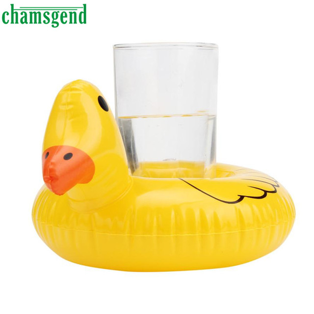 2016 Hot Chamsgend Lindo Pato Amarillo Flotante Inflable Bebida Puede Juguete Del Baño Titular A8101