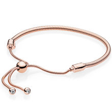 43496c0420d1 925 de plata esterlina oro rosa momentos cierre corredizo de ajuste Pandora  pulsera brazalete para las mujeres del encanto del g.