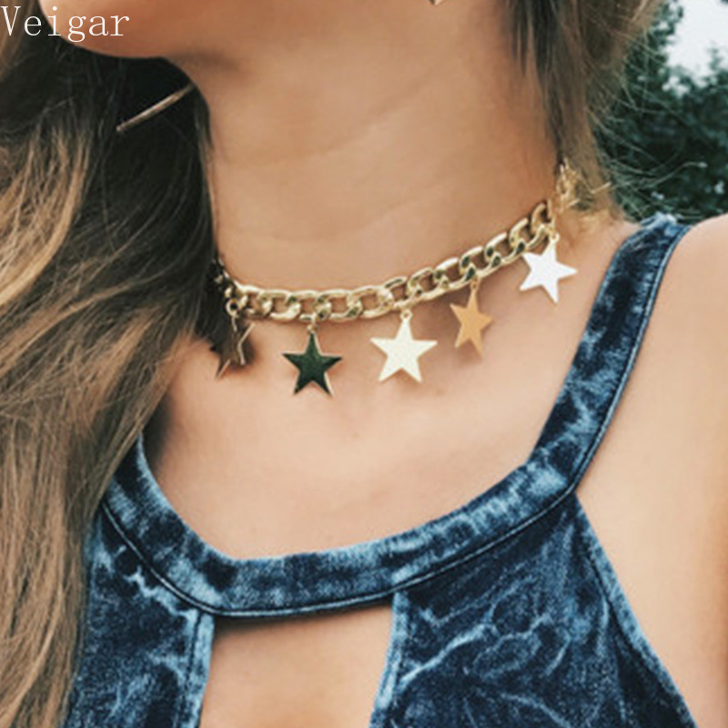 Gold Silver Color Thick Chain Stars Tassel Choker Necklace 2018 Fashion Jewellery Ladies Necklaces for Women Colar Feminino