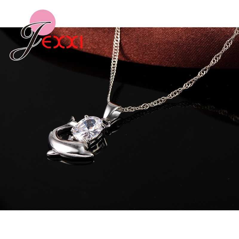 Mode Österreichischen Kristall Schmuck Set 925 Sterling Silber Süße Delphin Anhänger Halskette Schleife Ohrringe Sets für Frauen