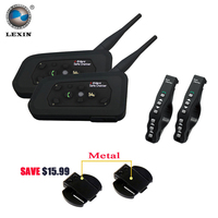 2 Pcs Lexin R4 Motorcycle Bluetooth Helmet Intercom Headset For 6 Riders Interphone Support Remote Control
