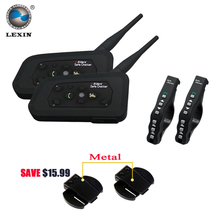 2 pcs Lexin A4 Motorcycle Bluetooth Helmet Intercom Headset for 4 Riders Interphone support Remote Control  BT Wireless intercom