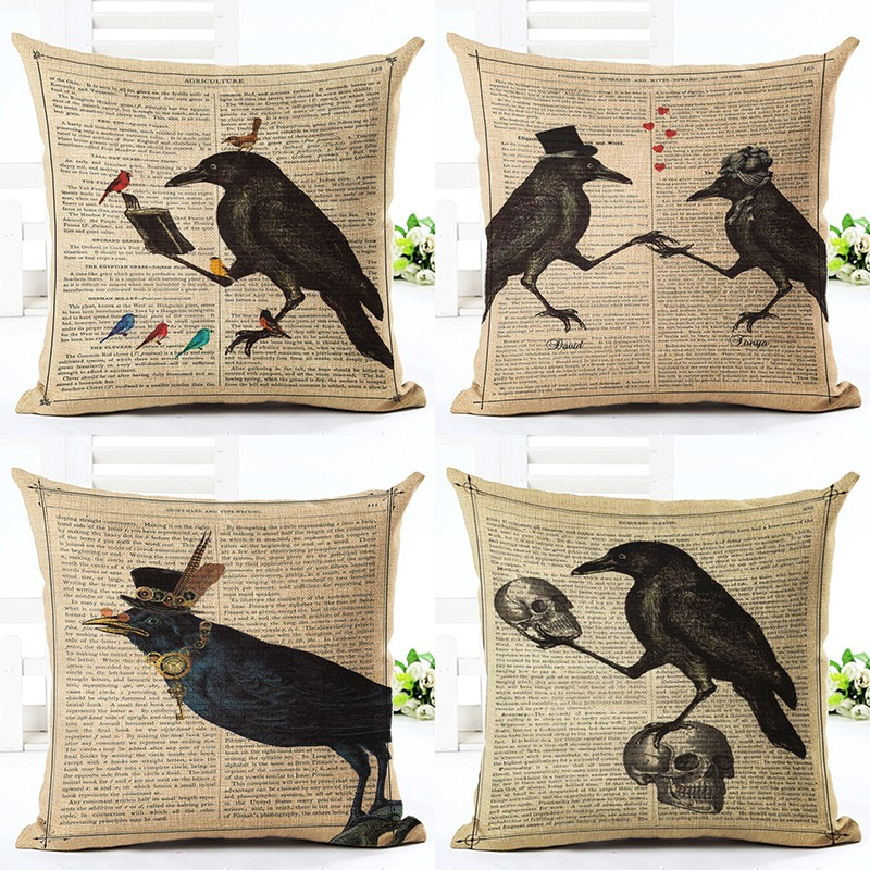 Online Store Throw Pillow Cushion Home Decor Couch Newspaper With Bird Printed Linen Cuscino Square Cojines