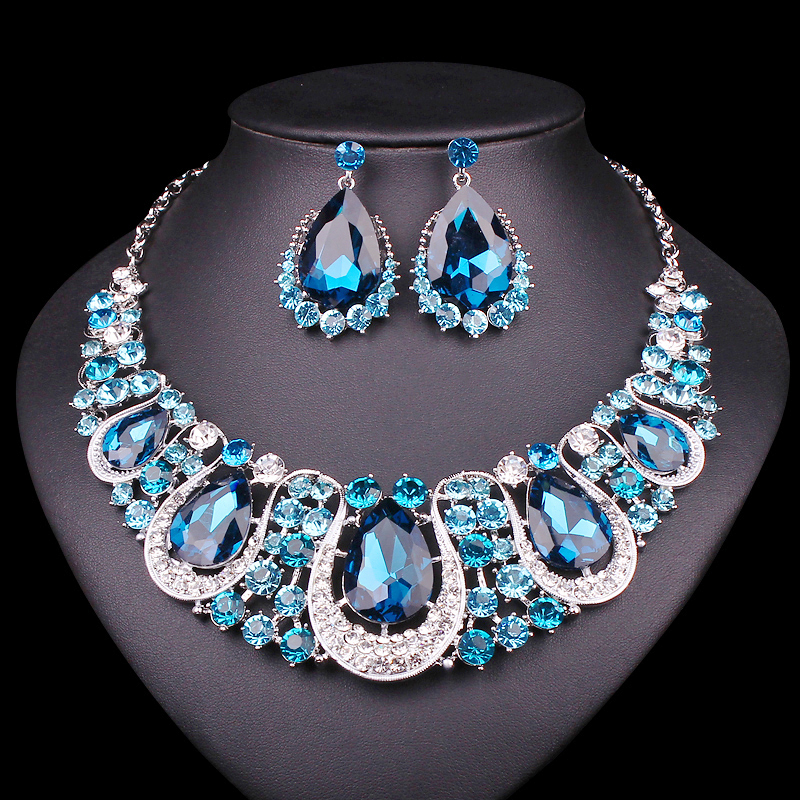 Fashion Indian Jewellery Crystal Necklace & Earrings set Bridal Jewelry Sets for Brides Wedding Costume Accessories Decoration