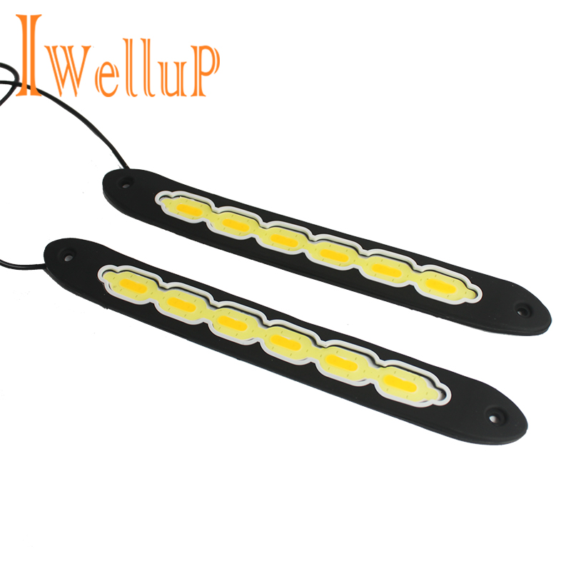 2pc COB LED DRL Daytime Running Lights Super Bright Car Driving Lamp Flexible 12V Daylight Car-styling for Nissan QASHQAI JUKE suprer bright 2pcs 30cm 12v daytime running lights waterproof car drl cob driving fog lamp flexible led strip car styling
