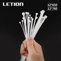 1 packet 50pcs 12*Various lengths Self Locking Plastic Nylon Wire Zip Ties White Cable Ties Fasten Loop Cable Free Shipping
