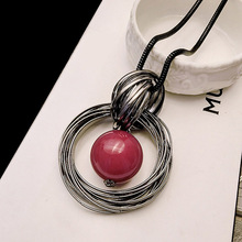 Fashion Womens Necklace Red Ball Pendant Long Women Jewelry Double Circles Girls Sweater Chain