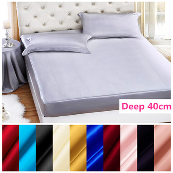 100% Mulberry Solid Silk Fitted Sheet Deep 40cm Soft Flat Sheet Multicolor Multi Size Free Shipping