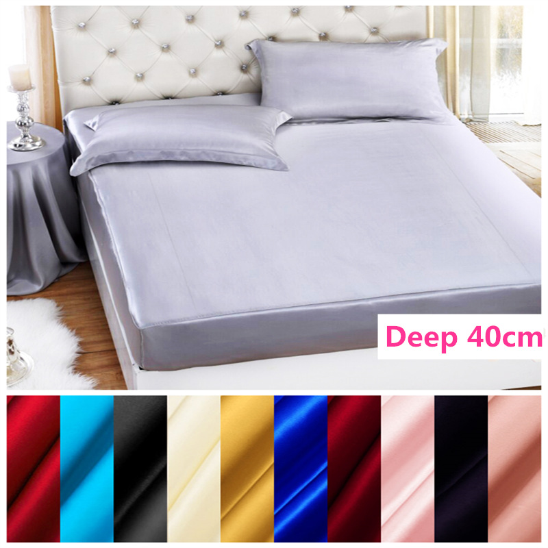 Free Shipping 100% Mulberry Solid Silk Fitted Sheet Deep 40cm Soft Flat Sheet Multicolor Multi Size