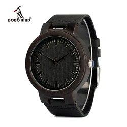 BOBO BIRD V-C27 Montre en bois De santal noir Antique Montre à Quartz pour homme avec bracelet en cuir noir Montre Femme Marque De Luxe