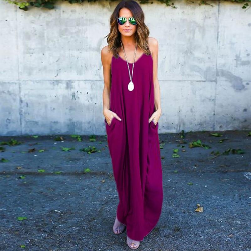 5718f235dc GZDL Casual Women Loose Beachwear Dress Summer Sleeveless Spaghetti Strap  Dress Fashion V Neck Pockets Party Long Dresses CL4421-in Dresses from  Women s ...