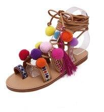 Plus Größe 35-41 Ethnische Bohemian Sommer Frau Pompon Sandalen Gladiator Römischen Strappy Kniehohe Stiefel Bestickt Quaste Schuhe