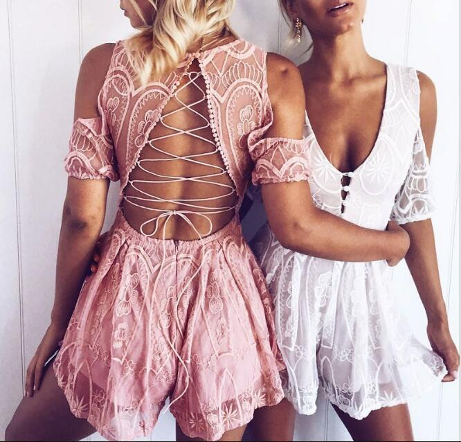 Lace Jumpsuits Playsuits Clothes Sexy Female V-neck Backless Cross Lacing up Bandage Jumpsuits Rompers One Piece Playsuits