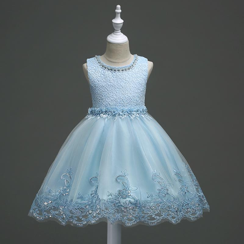 Children Baby Girls Tutu Dress Flower Pearl Lace Mesh Dress for Wedding Party Kids Girls Princess Ball Gown Formal Dress Clothes
