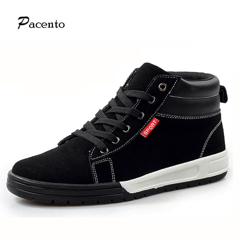 PACENTO High Quality Men Genuine Leather Shoes 2017 Fashion High Top Men's Casual Shoes Breathable Man Lace Up Brand Shoes Black