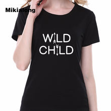 95f3b647 2017 Clothes Women WILD CHILD Printed Funny Graphic Tees Women T Shirt  Femme Short Sleeve Punk Rave Women Tshirt Top mujer