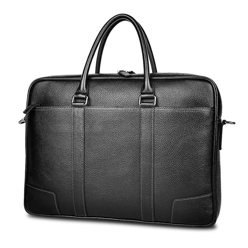 Top ขายแบรนด์ธุรกิจกระเป๋าเอกสารผู้ชายหนังแท้กระเป๋าหนัง 15.6 นิ้วกระเป๋าแล็ปท็อปกระเป๋าชาย-ใน กระเป๋าเอกสาร จาก สัมภาระและกระเป๋า บน   1
