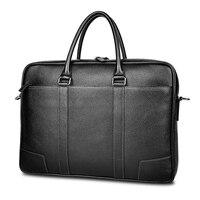 Top sell Brand Business Men genuine leather Briefcase Bag Luxury Leather 15.6 inch Laptop Bag Man Shoulder Bag