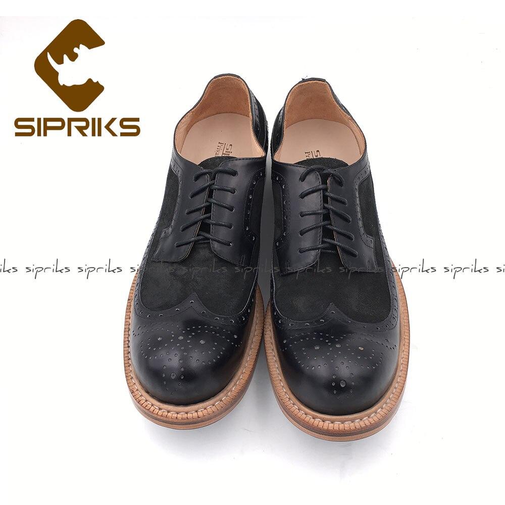 Sipriks w nowym stylu mężczyzna Goodyear ściągana akcentem buty ze skóry cielęcej czarne krowy zamszowe dla mężczyzn garnitur buty Retro klasyczne obuwie buty w Buty wizytowe od Buty na  Grupa 2