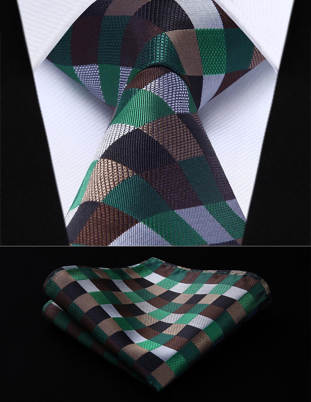 Green check silk handkerchief