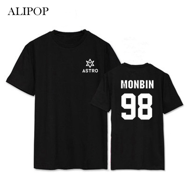 ALIPOP Kpop ASTRO MJ ROCHOSO JINJIN K-POP Álbum Camisas Casuais Roupas de Algodão Tshirt T Shirt Tops de Manga Curta T-shirt DX398