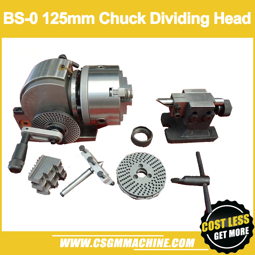 BS 0 Dividing Head for milling machine 125mm 3 Jaw Chuck Spiral Tailstock Indexing Plate
