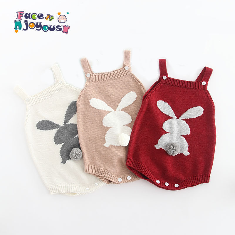 2019 Spring Summer Baby Rabbit   Rompers   Infant Knitted Overalls Bunny Baby Jumpsuit Toddler Baby Girls Boys Clothing Baby Clothes
