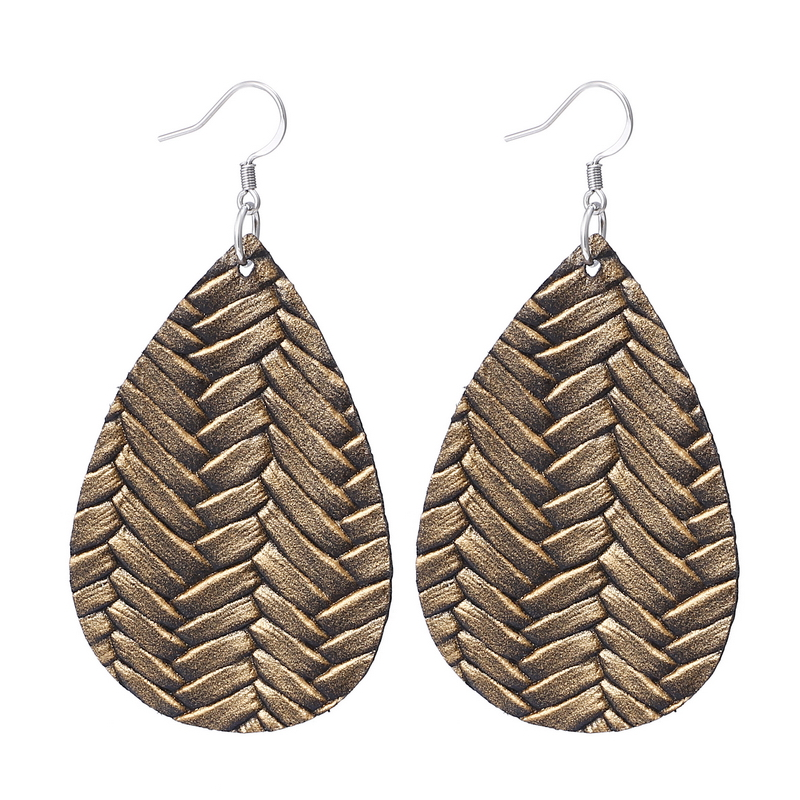 New Teardrop Leather Earrings Petal Drop Earrings Antique Lightweight S925 Carved Stainless Steel Earrings For Women Gifts 14