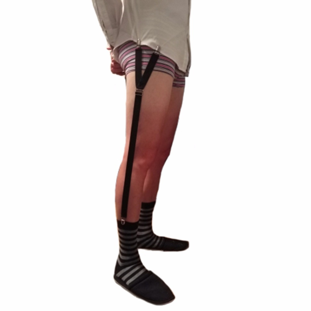 Male Shirt Stays Military Straight Stirrup Suspenders Men Elastic Uniform Business Suspender Shirt Holders Garter