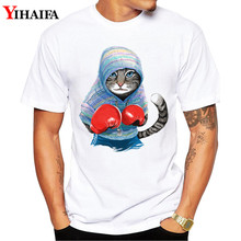Men T-Shirt 3D Boxing Cat Print Summer Short sleeve Slim Fit Round Neck White Printed Tee Shirts Hombre
