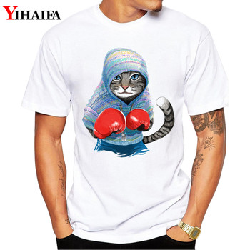 Men T-Shirt gym Boxing Cat Print Summer Short sleeve Slim Fit Round Neck White Printed Tee Shirts Hombre
