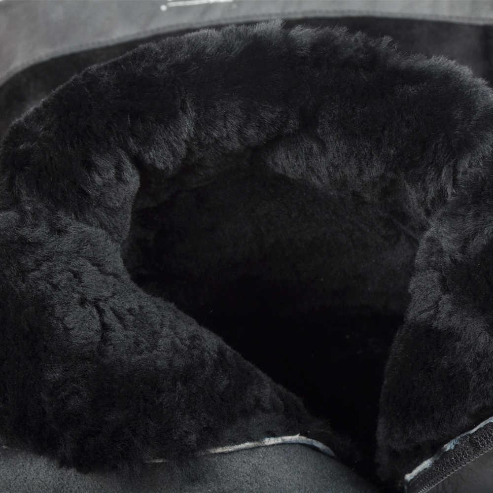 Donna-Mùa Đông Giày Nữ Đầu Gối Giày Cao Cổ Lông Ấm Giày Mới Thời Trang Nữ Da Thật Giày Mũi Tròn giày Cao Gót Nữ Đen 2019