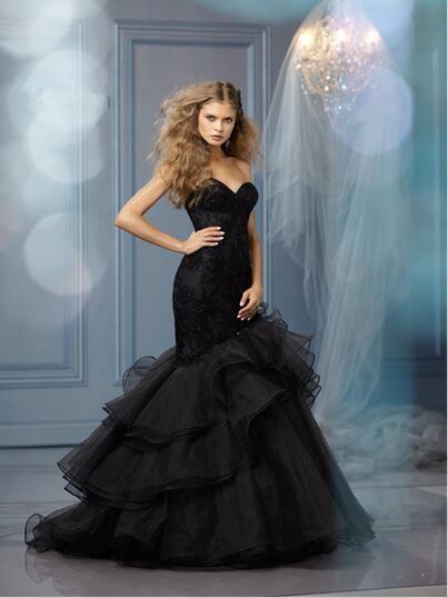 Black Wedding Dress Up : Online get cheap mermaid organza black wedding dress aliexpress