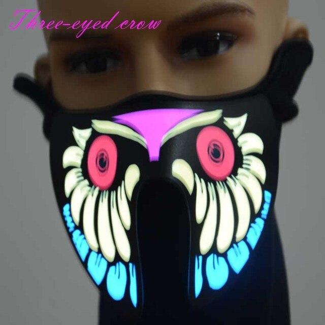 Halloween maskerade LED masken unteren hälfte gesicht maske EL draht ...