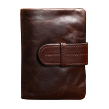 Men Wallets Famous Brand 100% Cowhide Genuine Leather Wallet Men Card Holder With Coin Pocket Short Vintage Design Wallet Purse(China)