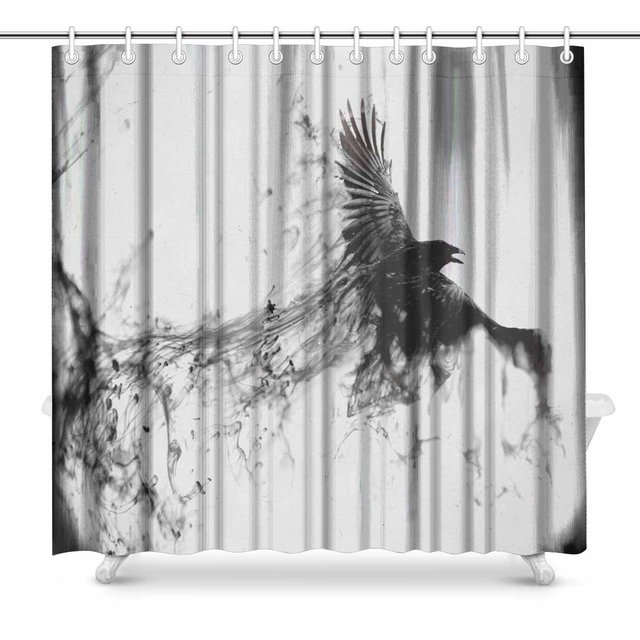 Aplysia Bird Flying Black Raven Bathroom Decor Shower Curtain Set With  Hooks 72 Inches