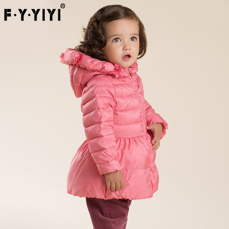 2017 down jacket for girls Winter clothes with cap Ruffle Skirt thickened Lace hat High quality white down jacket
