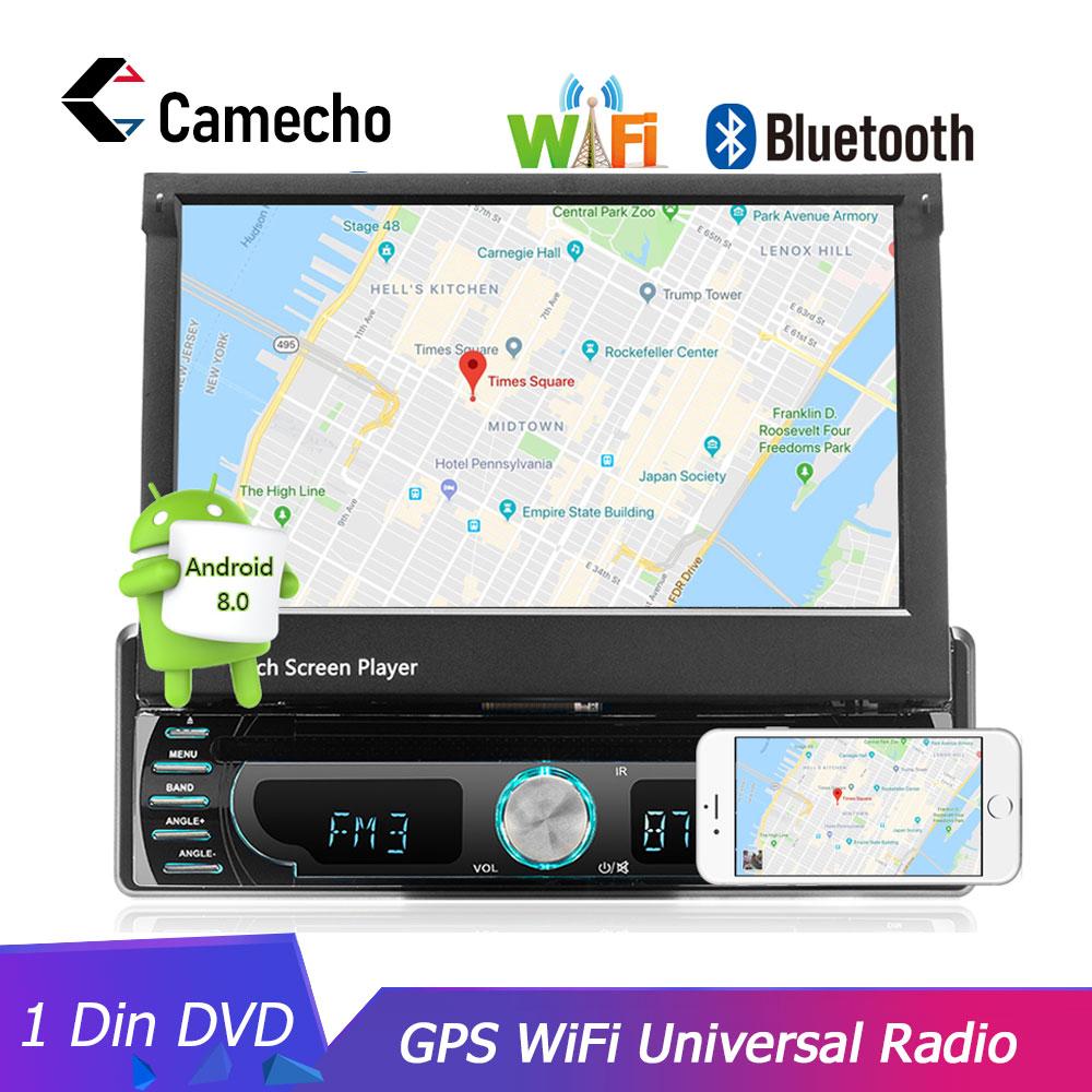 Camecho Autoradio Android GPS Navigation 12V 1 din dans le tableau de bord Autoradio Wifi voiture Audio stéréo lecteur DVD universel caméra de recul
