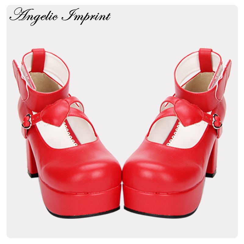 8cm Heels Red PU Leather Round Toe Sweet Lolita Shoes Ankle Strap Platform Princess Pumps super lovely white rabbit ears lolita princess platform heels shoes comfortable round toe cos shoes