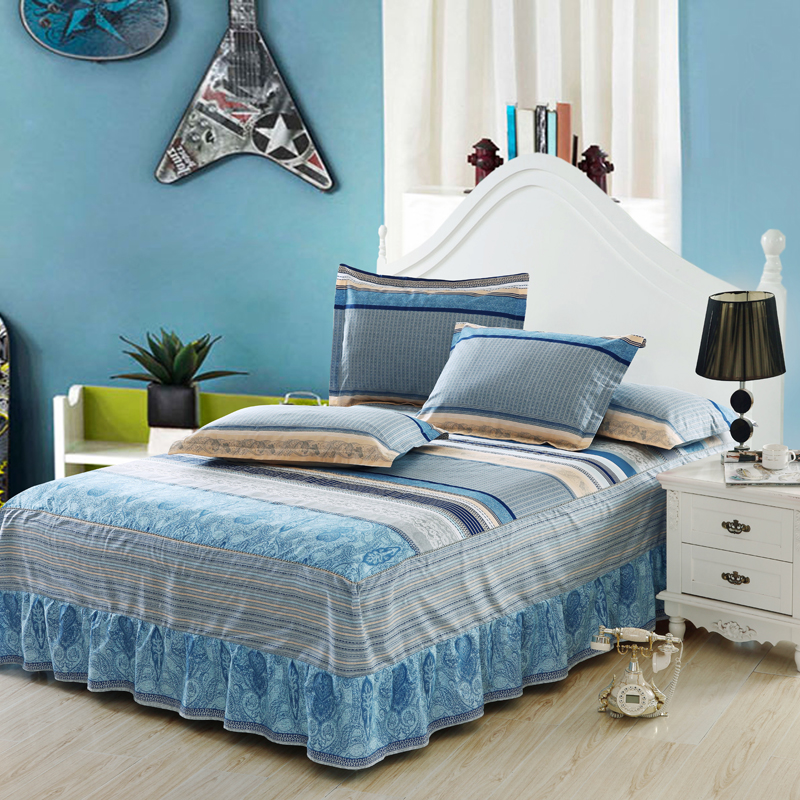 Blue grey striped bed skirt single bedding set mattress protective pillowcase cover print king queen full twin bed cover spread