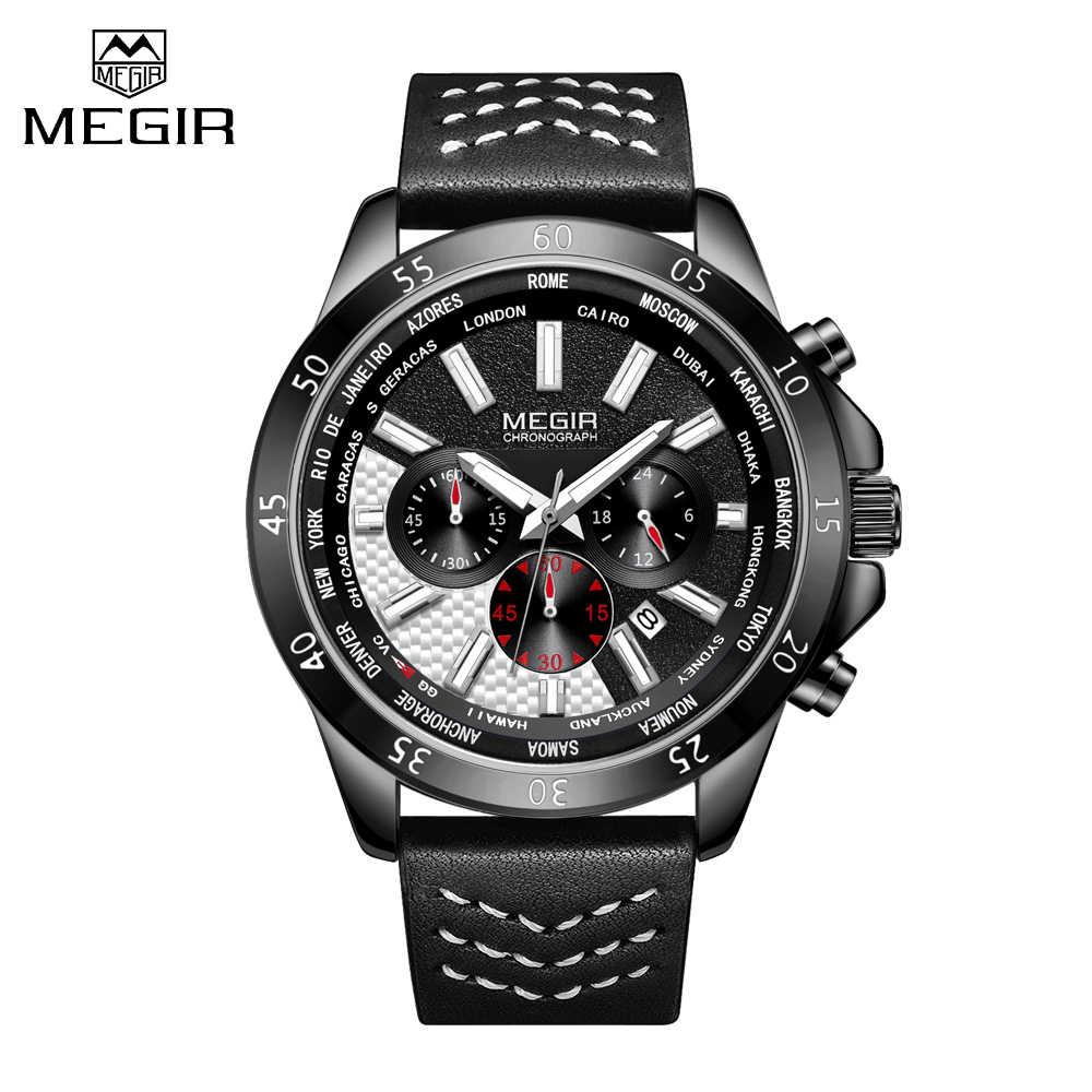 2019 MEGIR חדש אופנה Mens שעונים למעלה מותג יוקרה צבאי קוורץ עור עמיד למים ספורט הכרונוגרף שעונים גברים אריזת מתנה
